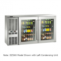 """Perlick DZS60_SSRGDC_RR 60"""" Dual-Zone Back Bar Refrigerated Beer and Wine Storage Cabinet, 2 Glass Doors with Stainless Steel Frames, RR Thermostat and Right Condensing Unit"""