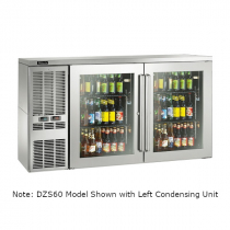 """Perlick DZS60_SSRGDC_RW 60"""" Dual-Zone Back Bar Refrigerated Beer and Wine Storage Cabinet, 2 Glass Doors with Stainless Steel Frames, RW Thermostat and Right Condensing Unit"""