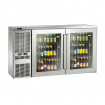 """Perlick DZS60_SSRGDC_WW 60"""" Dual-Zone Back Bar Refrigerated Beer and Wine Storage Cabinet, 2 Glass Doors with Stainless Steel Frames, WW Thermostat and Right Condensing Unit"""