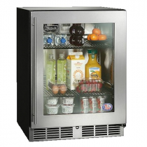 """Perlick HB24RSLP_SSGDC 24"""" Low Profile ADA Compliant Undercounter Refrigerator, Glass Door with Stainless Steel Frame"""