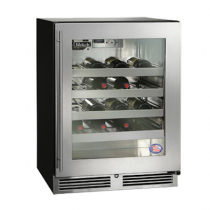 """Perlick HB24WSLP_SSGDC 24"""" Low Profile ADA Compliant Undercounter Wine Reserve Refrigerator, Glass Door with Stainless Steel Frame"""