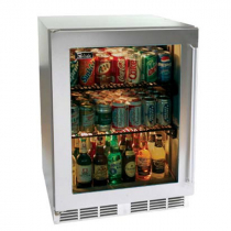 """Perlick HD24RS_SSGD 18"""" Shallow Depth Series Undercounter Refrigerator, Glass Door with Stainless Steel Frame"""