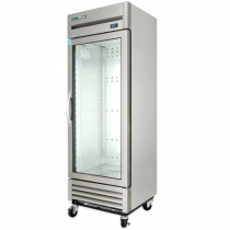 """True T-19G-HC~FGD01 27"""" T Series Reach-In 1-Section Refrigerator With 1 Glass Door With Aluminum Interior And 3 PVC Coated Shelves With LED Interior Lighting, 115 Volts"""