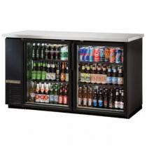 "True TBB-24-60G-HC-LD 61"" Black Narrow Glass Door Back Bar Refrigerator with LED Lighting"