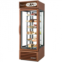 "True G4SM-23RGS~TSL01 27 1/2"" Bronze Four Sided Glass Door Refrigerator Merchandiser with Revolving Shelves - 115V"