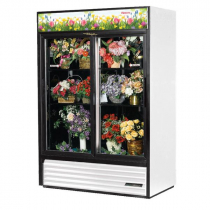 """True GDM-47FC-HC-LD 54 1/8"""" Two Sliding Door White Glass Refrigerated Floral Case with 4 Shelves and Hydrocarbon Refrigerant - 115V"""