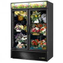 "True GDM-49FC-HC~TSL01 54 1/8"" Two Door Black Glass Floral Case with 4 Shelves and Hydrocarbon Refrigerant - 115V"
