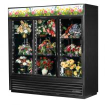 "True GDM-69FC-HC-LD 78 1/8"" Black Three Glass Sliding Door Floral Case with 6 Shelves and Hydrocarbon Refrigerant - 115V"