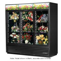 "True GDM-69FC-HC-LD 78 1/8"" Three Door White Glass Sliding Door Floral Case with 6 Shelves and Hydrocarbon Refrigerant - 115V"