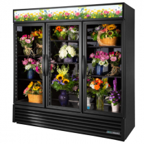 "True GDM-72FC-HC~TSL01 78 1/8"" Three Door Black Glass Floral Case with 6 Shelves and Hydrocarbon Refrigerant - 115V"