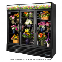 """True GDM-72FC-HC~TSL01 78 1/8"""" Three Door White Glass Refrigerated Floral Case with 6 Shelves and Hydrocarbon Refrigerant - 115V"""