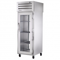 """True STA1RPT-1G-1G-HC 27.5"""" Spec Series Pass-Thru 1-Section Refrigerator With 1 Glass Door On Front And Rear, Aluminum Interior And Chrome Shelves With Hydrocarbon Refrigerant, 115 Volts"""