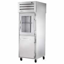 """True STA1RPT-1HG/1HS-1G-HC 27.5"""" Spec Series Pass-Thru 1-Section Refrigerator With 1 Glass And 1 Solid Half Door On Front And 1 Glass Door On Rear, Aluminum Interior And Chrome Shelves With Hydrocarbon Refrigerant, 115 Volts"""