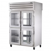 """True STA2RPT-4HG-2G-HC 53"""" Spec Series Pass-Thru 2-Section Refrigerator With 4 Glass Half Doors On Front And 2 Glass Doors On Rear, Aluminum Interior And Chrome Shelves With Hydrocarbon Refrigerant, 115 Volts"""