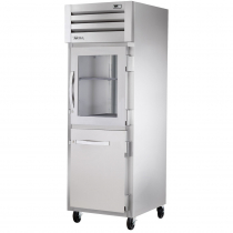 """True STG1R-1HG/1HS-HC 27.5"""" Spec Series Reach-In 1-Section Refrigerator With 1 Glass And 1 Solid Half Door, Aluminum Interior And PVC Wire Shelves, 115 Volts"""