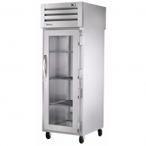 """True STG1RPT-1G-1S-HC 27.5"""" Spec Series Pass-Thru 1-Section Refrigerator With 1 Glass Door On Front And 1 Solid Door On Rear, Aluminum Interior And PVC Wire Shelves With Hydrocarbon Refrigerant, 115 Volts"""
