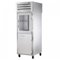 """True STG1RPT-1HG/1HS-1S-HC 27.5"""" Spec Series Pass-Thru 1-Section Refrigerator With 1 Glass And 1 Solid Half Door On Front And 1 Solid Door On Rear, Aluminum Interior And PVC Wire Shelves With Hydrocarbon Refrigerant, 115 Volts"""