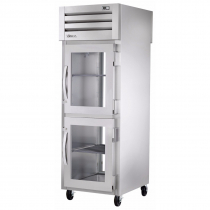 """True STG1RPT-2HG-1G-HC 27.5"""" Spec Series Pass-Thru 1-Section Refrigerator With 2 Glass Half Doors On Front And 1 Glass Door On Rear, Aluminum Interior And PVC Wire Shelves With Hydrocarbon Refrigerant, 115 Volts"""