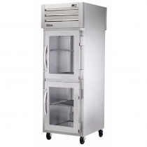 """True STG1RPT-2HG-1S-HC 27.5"""" Spec Series Pass-Thru 1-Section Refrigerator With 2 Glass Half Doors On Front And 1 Solid Door On Rear, Aluminum Interior And PVC Wire Shelves With Hydrocarbon Refrigerant, 115 Volts"""