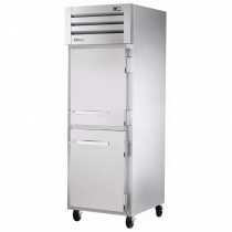 """True STG1RPT-2HS-1S-HC 27.5"""" Spec Series Pass-Thru 1-Section Refrigerator With 2 Solid Half Doors On Front And 1 Solid Door On Rear, Aluminum Interior And PVC Wire Shelves With Hydrocarbon Refrigerant, 115 Volts"""