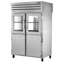 """True STG2RPT-2HG/2HS-2G-HC 53"""" Spec Series Pass-Thru 2-Section Refrigerator With 2 Glass And 2 Solid Half Doors On Front And 2 Glass Doors On Rear, Aluminum Interior And PVC Wire Shelves With Hydrocarbon Refrigerant, 115 Volts"""