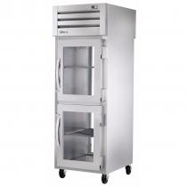 """True STR1RPT-2HG-1G-HC 27"""" One Section Glass Half Door Pass-Thru Refrigerator with Glass Rear Door - 31 cu. ft."""