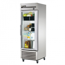 """True T-23G-HC~FGD01 27"""" T Series Reach-In 1-Section Refrigerator With 1 Glass Door With Aluminum Interior And 3 PVC Coated Shelves With LED Interior Lighting, 115 Volts"""