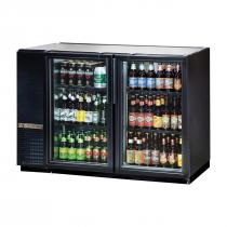 "True TBB-24GAL-48G-HC-LD 47-7/8"" Black Glass Door Back Bar Refrigerator with Galvanized Top and LED Lighting"