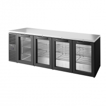 "True TBR108-RISZ1-L-B-GGGG-1 108"" Swing Glass Door Back Bar Refrigerator with LED Interior Lighting"