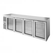 "True TBR108-RISZ1-L-S-GGGG-1 Stainless Steel 108"" Swing Glass Door Back Bar Refrigerator with LED Interior Lighting"
