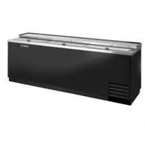 "True TD-95-38-HC 95 1/8"" Black Stainless Steel / Galvanized Steel Slide Lid Deep Well Horizontal Bottle Cooler with Hydrocarbon Refrigerant - 115V"