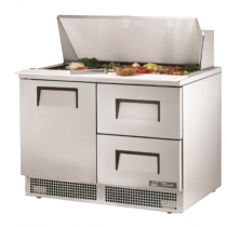 """True TFP-48-18M-D-2 48 1/8"""" One Door Refrigerated Salad / Sandwich Prep Refrigerator with Two Right Drawers with 2 Shelves, 18 Pans and 134A Refrigerant - 115V"""