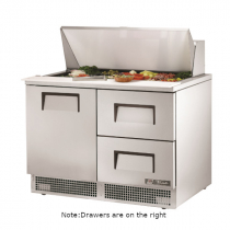 """True TFP-48-18M-D-2 48 1/8"""" One Door Refrigerated Salad / Sandwich Prep Refrigerator with 2 Left Drawers, 2 Shelves, 18 Pans and 134A Refrigerant - 115V"""
