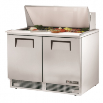 """True TFP-48-18M 48 1/8"""" Two Door Refrigerated Salad / Sandwich Prep Refrigerator with 4 Shelves, 18 Pans and 134A Refrigerant - 115V"""