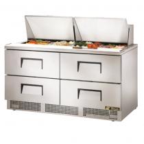 "True TFP-64-24M-D-4 64 1/8"" Four Drawer Salad / Sandwich Prep Refrigerator with 24 Pans and 134A Refrigerant - 115V"