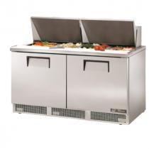 "True TFP-64-24M 64 1/8"" Two Door Salad / Sandwich Prep Refrigerator with 4 Shelves, 24 Pans and 134A Refrigerant - 115V"