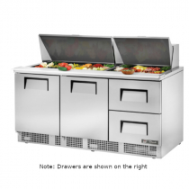 """True TFP-72-30M-D-2 72 1/8"""" Two Door / Two Left Drawer Sandwich / Salad Prep Refrigerator with 30 Pans, 4 Shelves and 134A Refrigerant - 115V"""