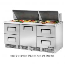 "True TFP-72-30M-D-4 72 1/8"" One Door / Four Left Drawer Sandwich / Salad Prep Refrigerator with 2 Shelves, 30 Pans and 134A Refrigerant - 115V"