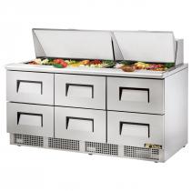 "True TFP-72-30M-D-6 72 1/8"" Six Drawer Salad / Sandwich Prep Refrigerator with 30 Pans and 134A Refrigerant - 115V"