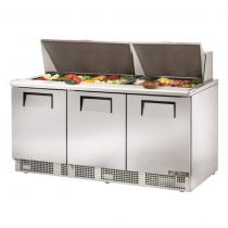 "True TFP-72-30M 72 1/8"" Three Door Salad / Sandwich Prep Refrigerator with 6 Shelves, 30 Pans and 134A Refrigerant - 115V"