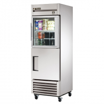 """True TS-23-1-G-1-HC~FGD01 27"""" Single Section Reach-In Refrigerator With 1 Solid and 1 Glass Swing Door and Hydrocarbon Refrigerant, 115 Volts"""