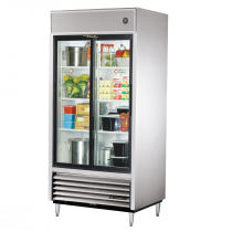 "True TSD-33G-HC-LD 40"" TSD Series Reach-In Refrigerator With 2 Glass Sliding Doors, Aluminum Interior And 6 PVC Coated Shelves With LED Interior Lighting, 115 Volts"