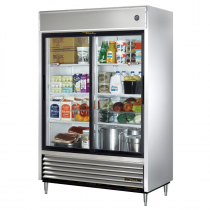 "True TSD-47G-HC-LD 55"" TSD Series Reach-In Refrigerator With 2 Glass Sliding Doors, Aluminum Interior And 6 PVC Coated Shelves With LED Interior Lighting, 115 Volts"