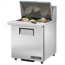 "True TSSU-27-12M-B-ADA-HC 27 5/8"" One Door Mega Top ADA Height Salad / Sandwich Prep Refrigerator with 2 Shelves, 12 Pans and Hydrocarbon Refrigerant - 115V"