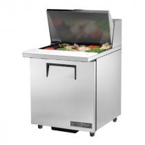 "True TSSU-27-12M-C-ADA-HC 27 5/8"" One Door ADA Height Mega Top Sandwich / Salad Prep Refrigerator with 2 Shelves, 12 Pans and Hydrocarbon Refrigerant - 115V"