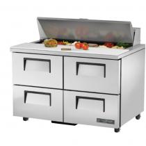 "True TSSU-48-12D-4-ADA-HC 48 3/8"" ADA Height Sandwich / Salad Prep Refrigerator with 4 Drawers, 12 Pans and Hydrocarbon Refrigerant - 115V"
