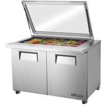 "True TSSU-48-18M-B-FGLID-HC 48 3/8"" Mega Top Two Door Sandwich / Salad Prep Refrigerator w/ Flat Glass Lid, 4 Shelves, 18 Pans and Hydrocarbon Refrigerant - 115V"