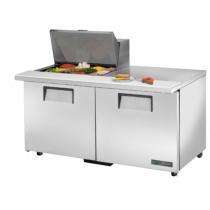 "True TSSU-60-12M-B-ADA-HC 60 3/8"" Mega Top Two Door ADA Height Sandwich / Salad Prep Refrigerator with 4 Shelves, 12 Pans and Hydrocarbon Refrigerant - 115V"