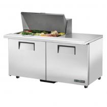 "True TSSU-60-15M-B-ADA-HC 60 3/8"" Mega Top Two Door ADA Height Sandwich / Salad Prep Refrigerator with 4 Shelves, 15 Pans and Hydrocarbon Refrigerant - 115V"