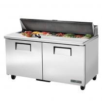 "True TSSU-60-16-HC 60 3/8"" Two Door Sandwich / Salad Prep Refrigerator with 4 Shelves, 16 Food Pans and Hydrocarbon Refrigerant - 115V"
